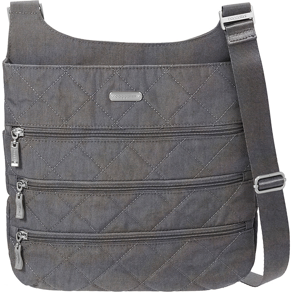 baggallini Quilted Big Zipper Bagg Crossbody with RFID Pewter Quilt - baggallini Fabric Handbags - Handbags, Fabric Handbags