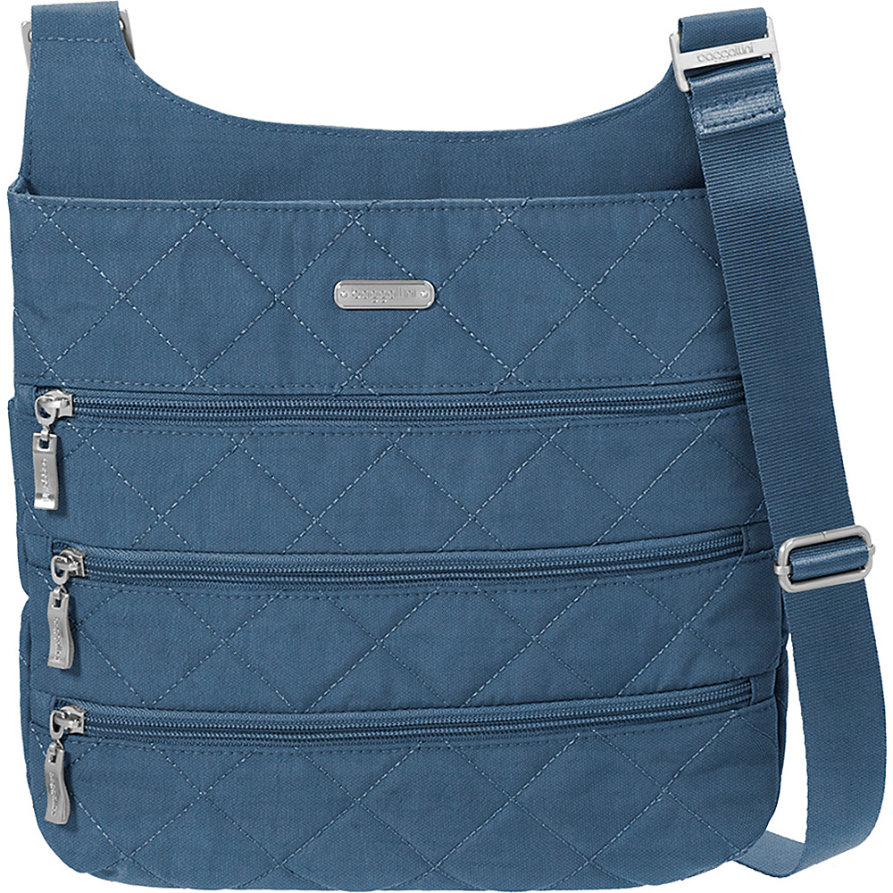 baggallini Quilted Big Zipper Bagg Crossbody with RFID Slate Quilt - baggallini Fabric Handbags - Handbags, Fabric Handbags