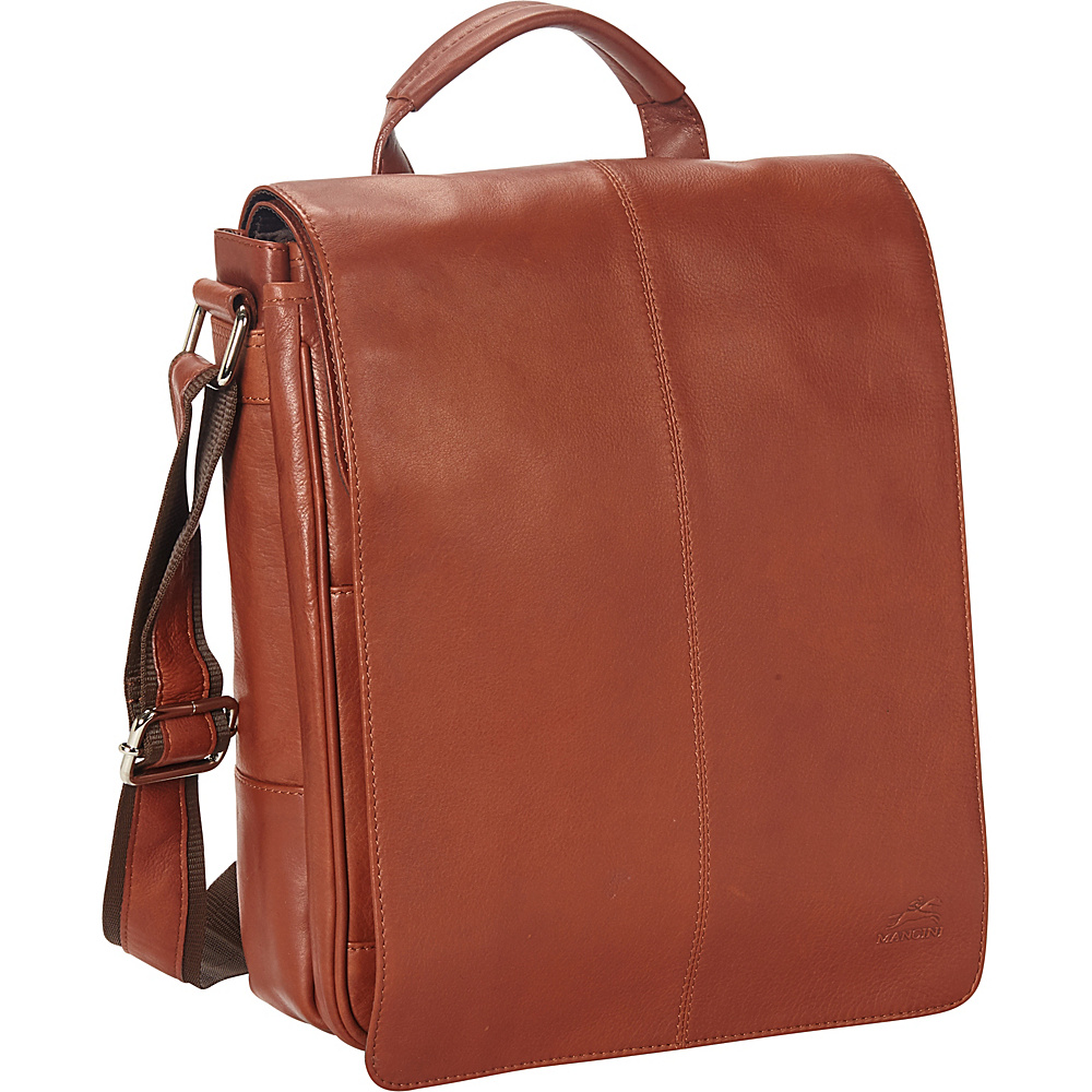 d82b8ac3ab Mancini Leather Goods Colombian Messenger Style Tablet Bag Cognac - Mancini  Leather Goods Non-Wheeled