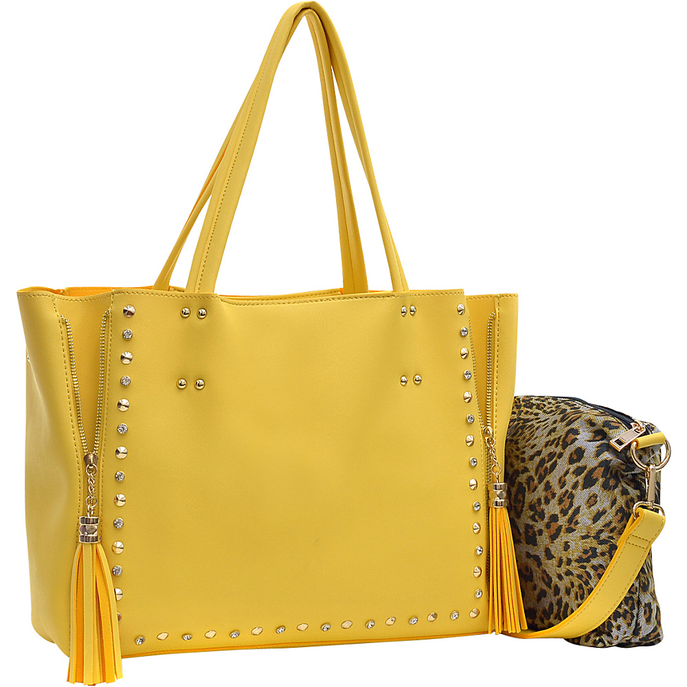 Dasein Faux Leather Studded 2-in-1 Tote Bag with Tassels Yellow - Dasein Manmade Handbags - Handbags, Manmade Handbags
