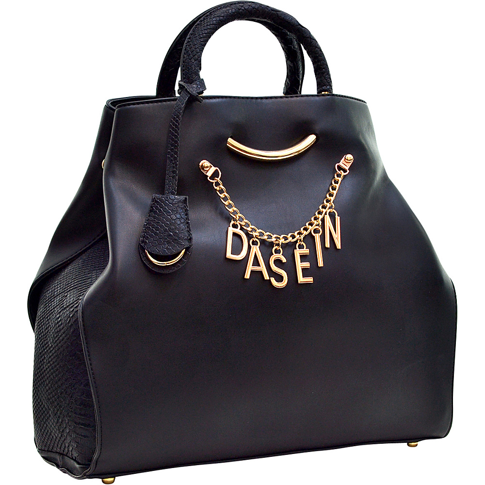 Dasein Charm Tote Bag with Embossed Trim Black - Dasein Manmade Handbags - Handbags, Manmade Handbags