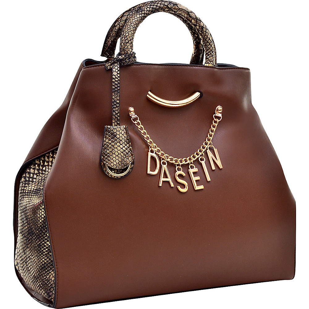 Dasein Charm Tote Bag with Embossed Trim Coffee - Dasein Manmade Handbags - Handbags, Manmade Handbags