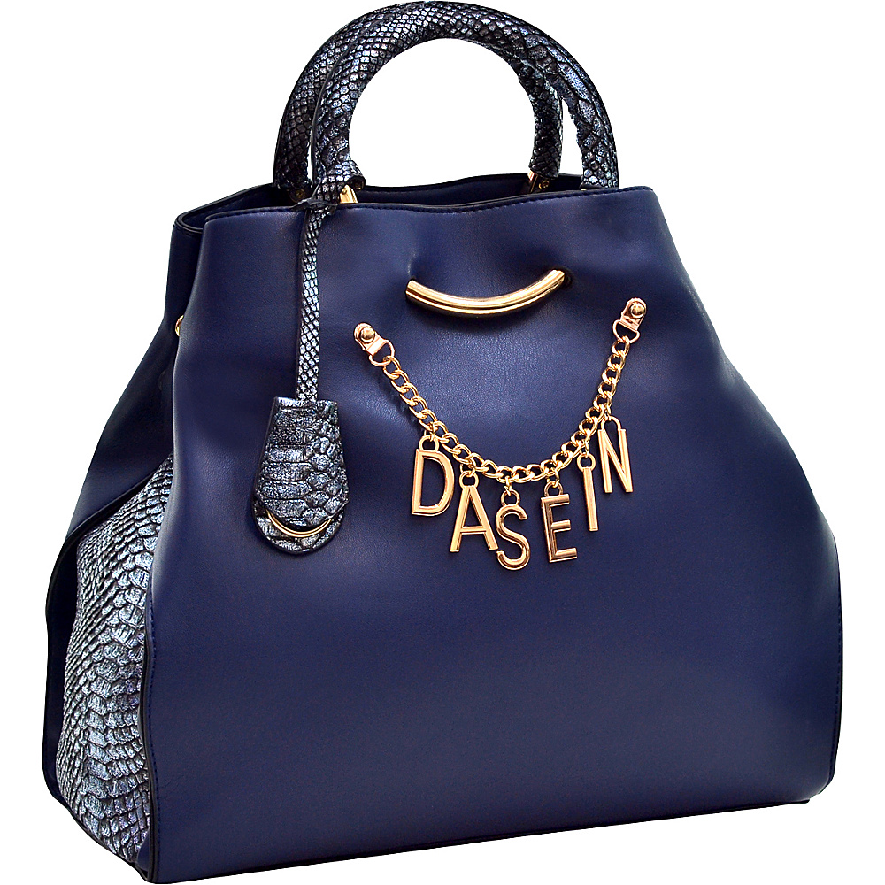 Dasein Charm Tote Bag with Embossed Trim Blue - Dasein Manmade Handbags - Handbags, Manmade Handbags