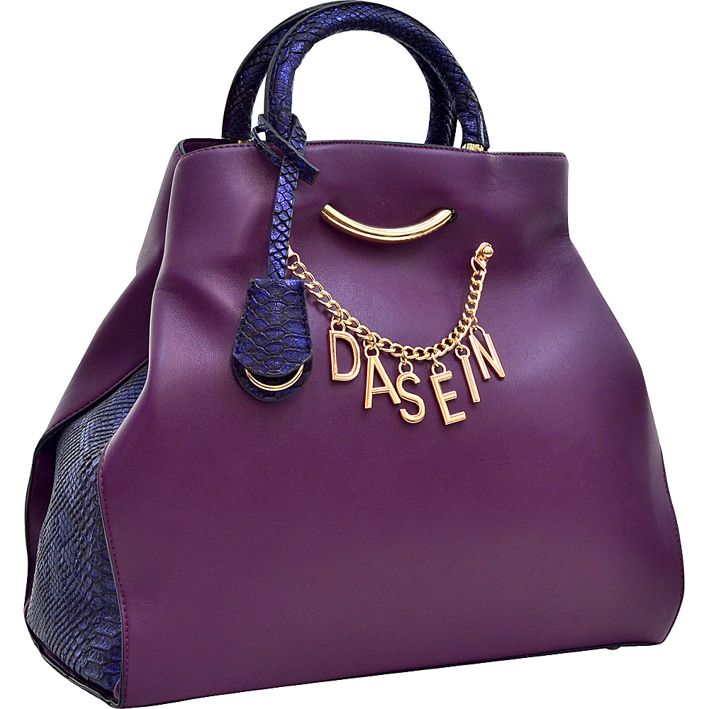 Dasein Charm Tote Bag with Embossed Trim Purple - Dasein Manmade Handbags - Handbags, Manmade Handbags
