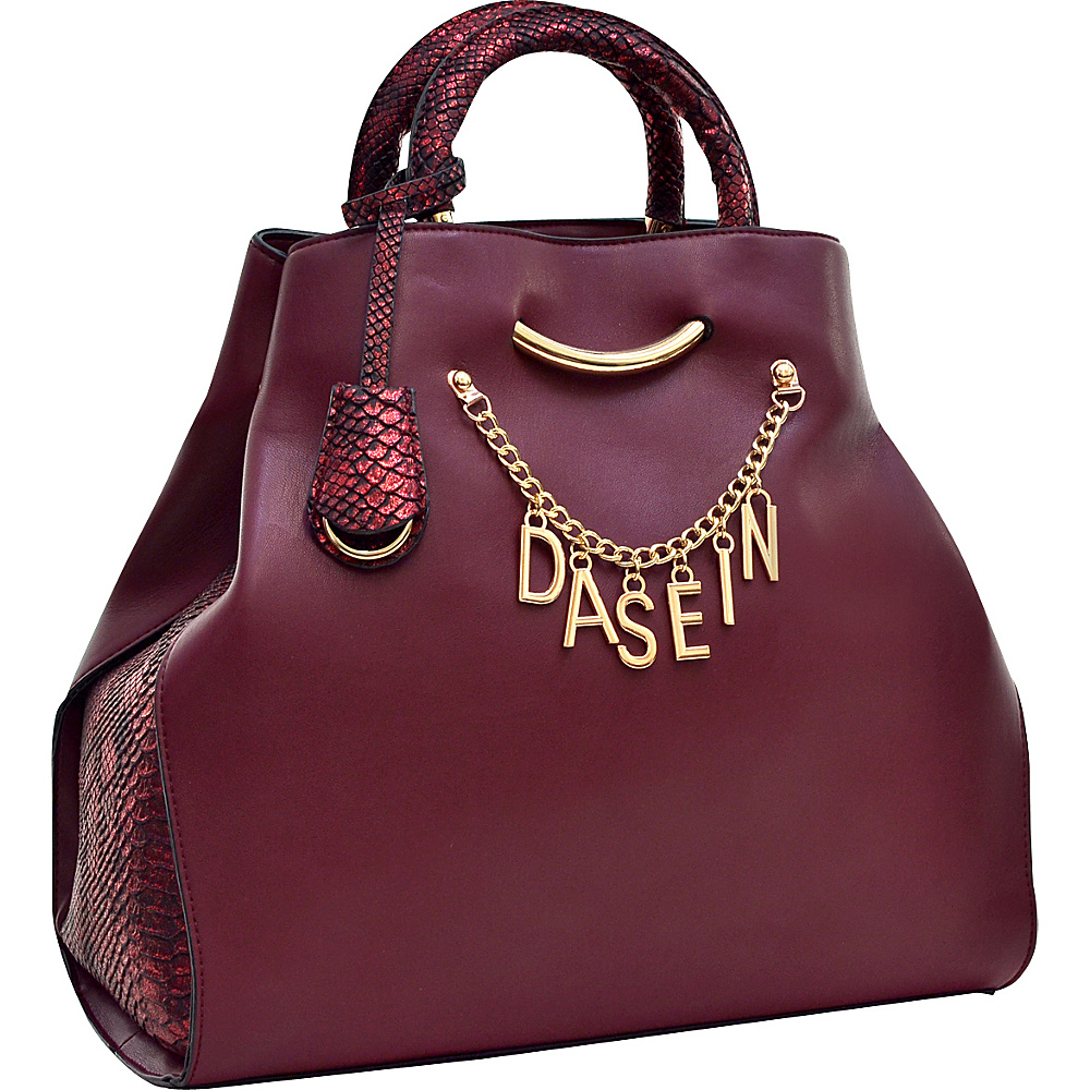 Dasein Charm Tote Bag with Embossed Trim Wine - Dasein Manmade Handbags - Handbags, Manmade Handbags