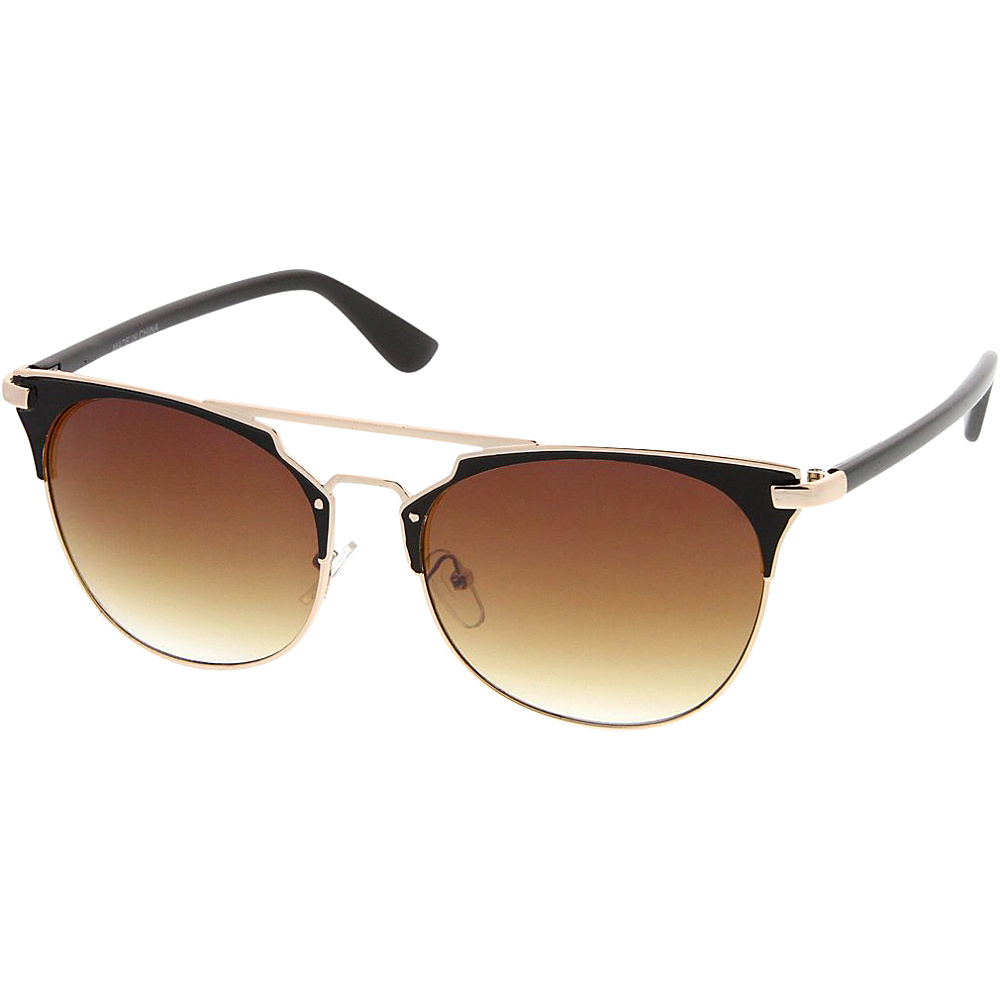 SW Global Womens Retro Fashion Flat Top Double Wire Sunglasses Gold - SW Global Eyewear - Fashion Accessories, Eyewear