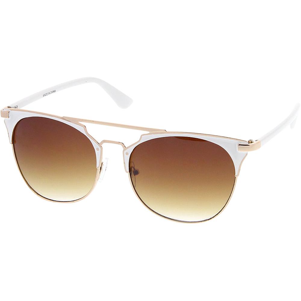 SW Global Womens Retro Fashion Flat Top Double Wire Sunglasses White - SW Global Eyewear - Fashion Accessories, Eyewear