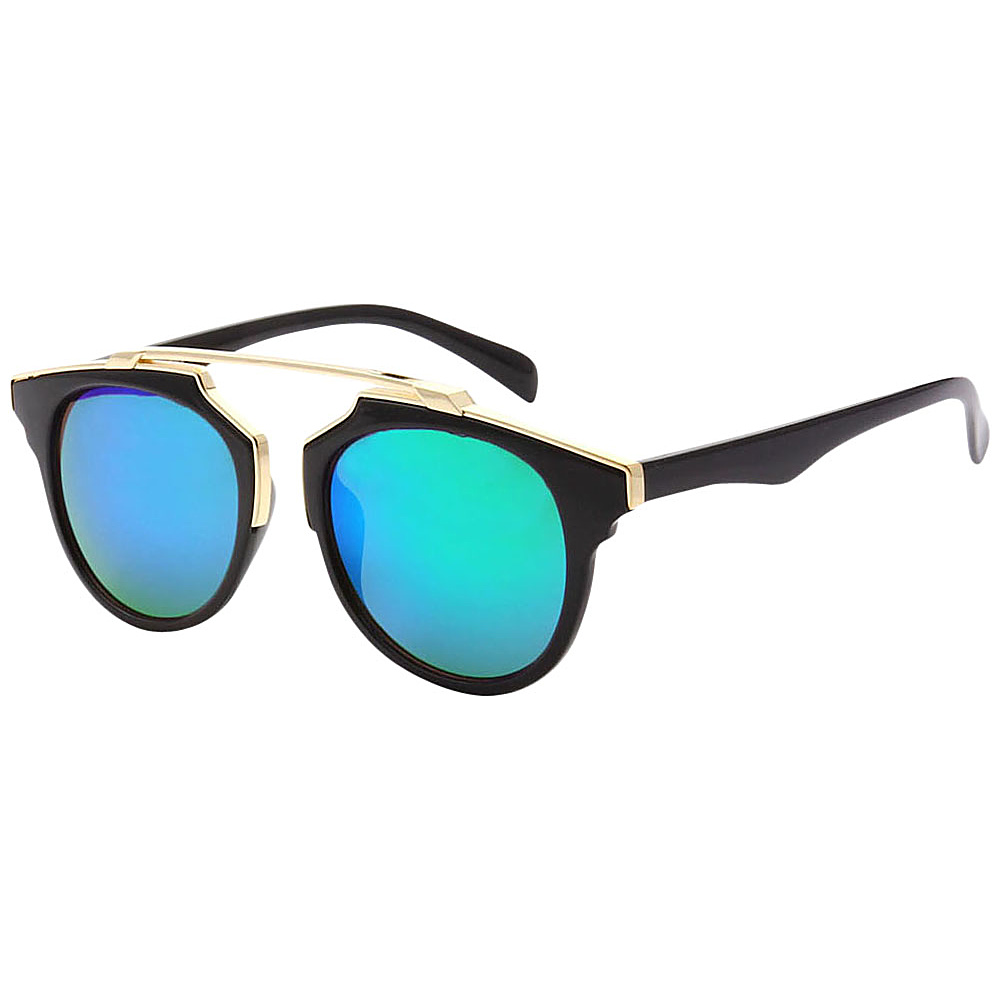 SW Global Modern Bi-color Flat Brow Bar Fashion Aviator Sunglasses Green - SW Global Eyewear - Fashion Accessories, Eyewear
