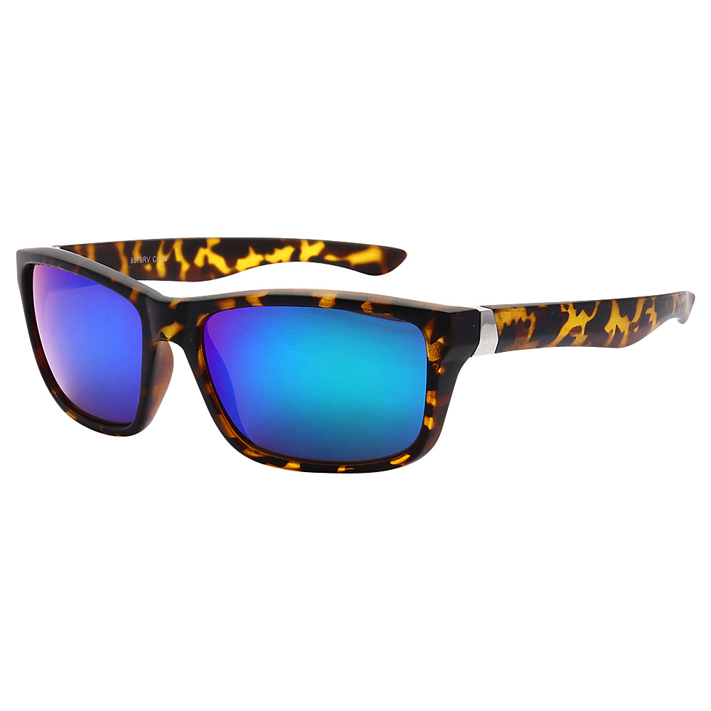 SW Global Sporty Retro Durable Full Frame Retro Square UV400 Sunglasses Leopard Blue Purple - SW Global Eyewear - Fashion Accessories, Eyewear