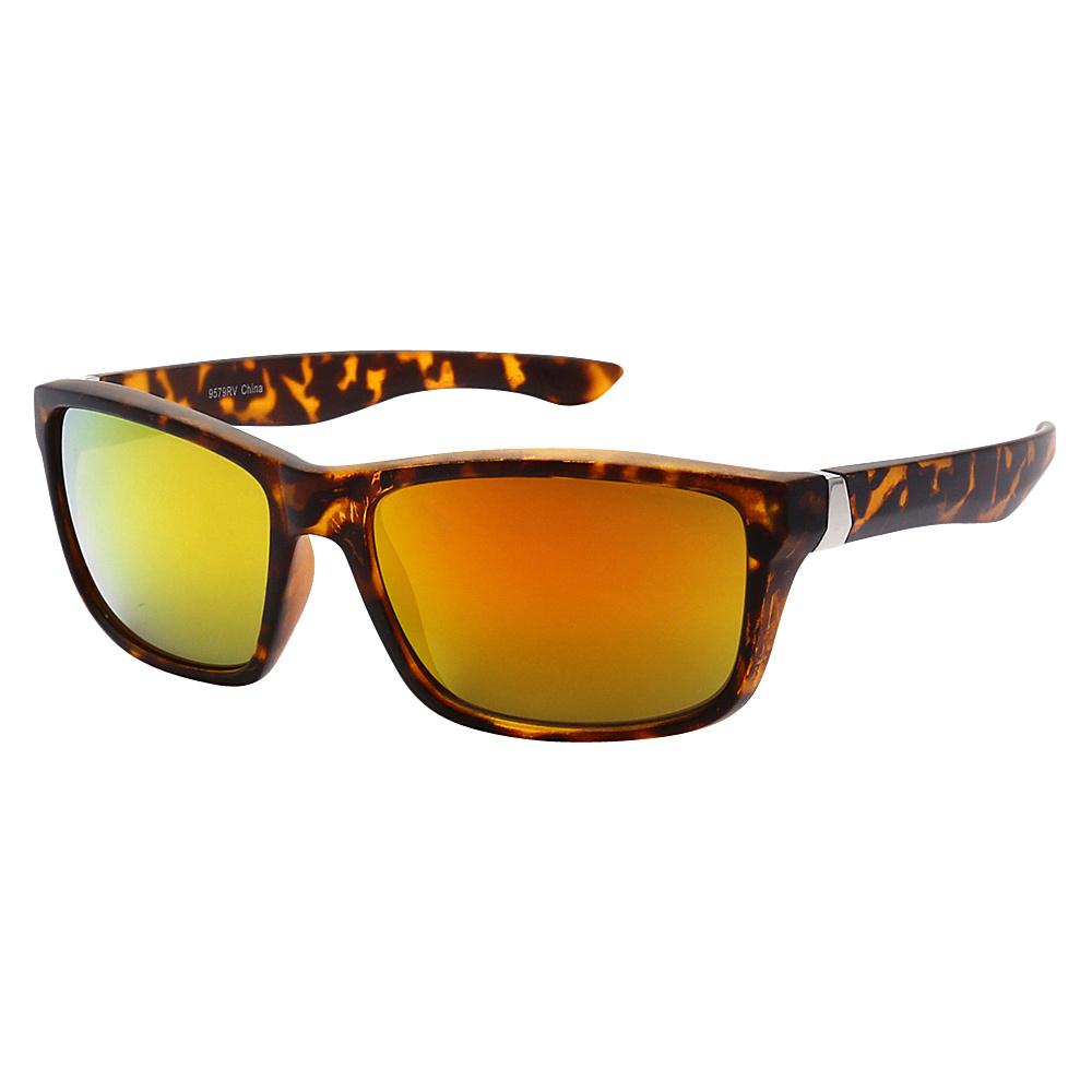 SW Global Sporty Retro Durable Full Frame Retro Square UV400 Sunglasses Leopard Orange Yellow - SW Global Eyewear - Fashion Accessories, Eyewear