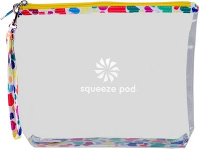 Squeeze Pod Large Clear Travel Bag with Wrist Strap White Hearts Pattern - Squeeze Pod Lightweight Packable Expandable Bags
