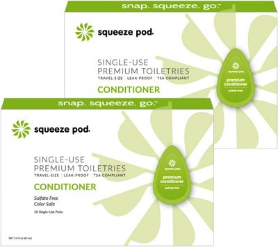 Squeeze Pod Single Use Natural Conditioner - 20 Single Use Pods Lime Green - Squeeze Pod Travel Comfort and Health