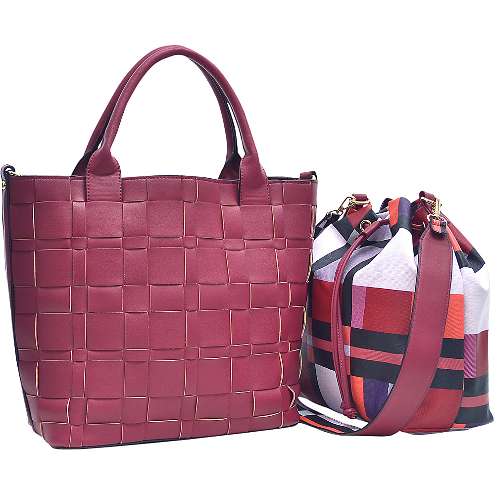 Dasein Checkered/Plaid Designed Tote with Bucket Bag Inside Burgundy - Dasein Fabric Handbags - Handbags, Fabric Handbags