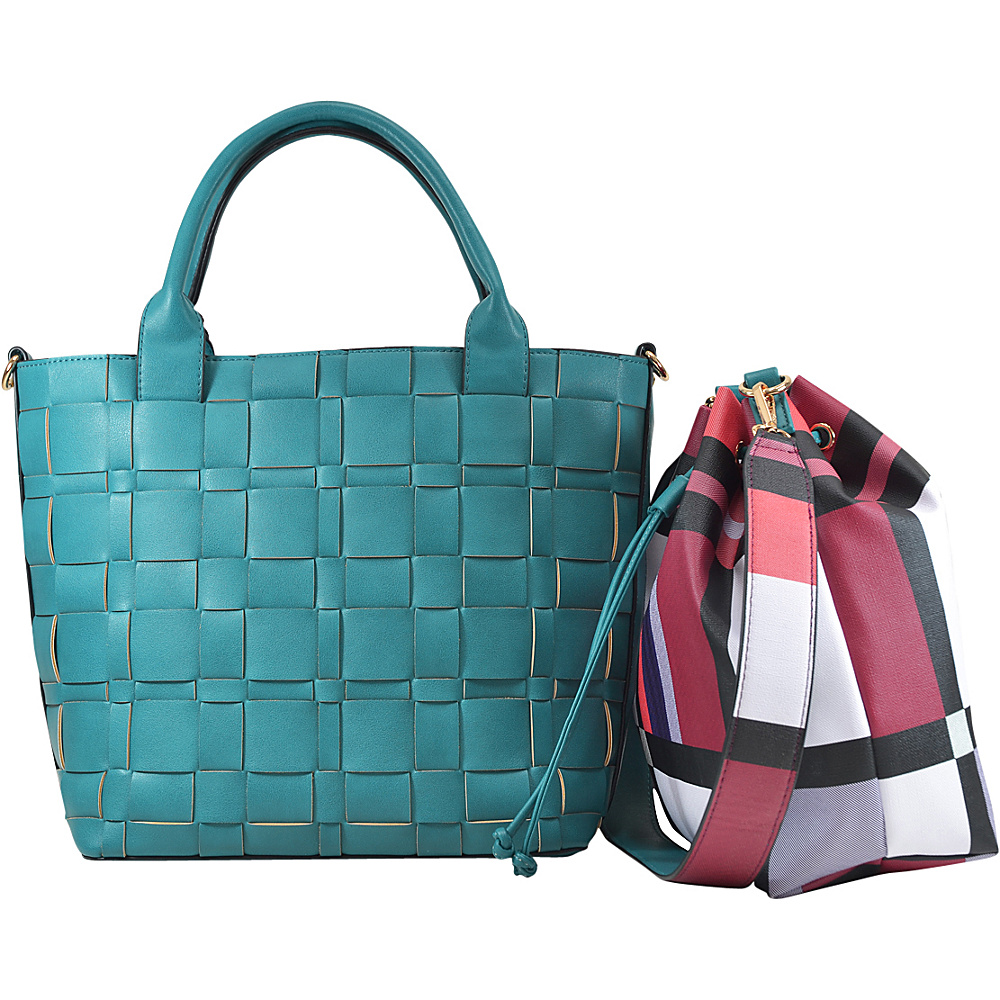 Dasein Checkered/Plaid Designed Tote with Bucket Bag Inside Turquoise - Dasein Fabric Handbags - Handbags, Fabric Handbags