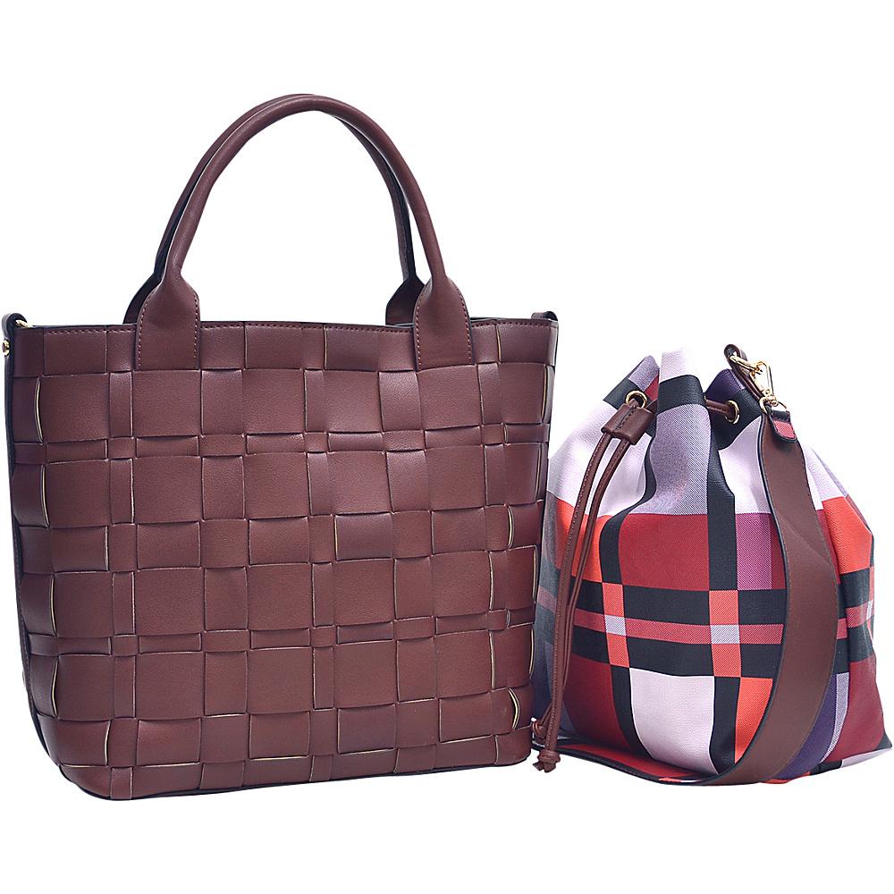 Dasein Checkered/Plaid Designed Tote with Bucket Bag Inside Cognac - Dasein Fabric Handbags - Handbags, Fabric Handbags