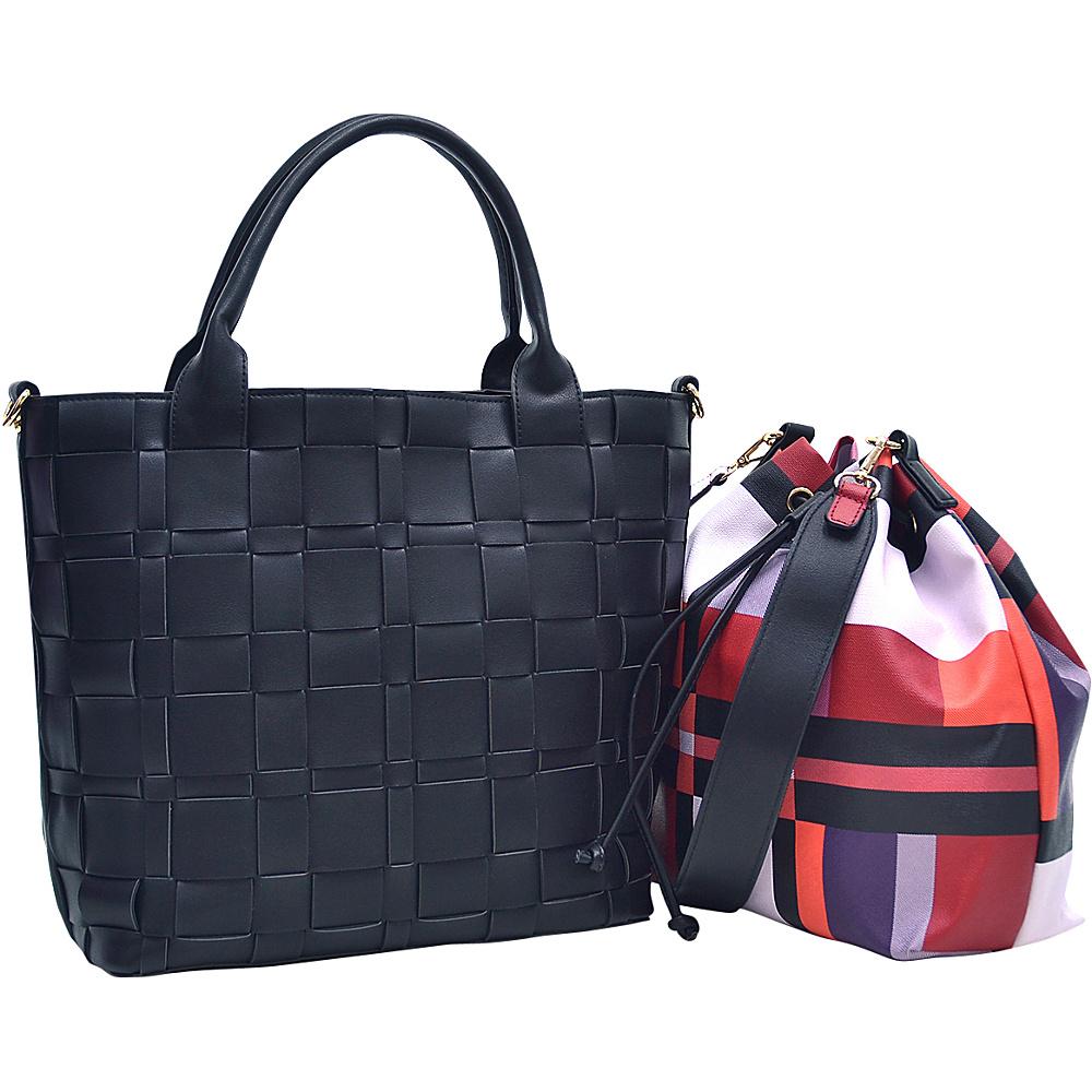 Dasein Checkered/Plaid Designed Tote with Bucket Bag Inside Black - Dasein Fabric Handbags - Handbags, Fabric Handbags
