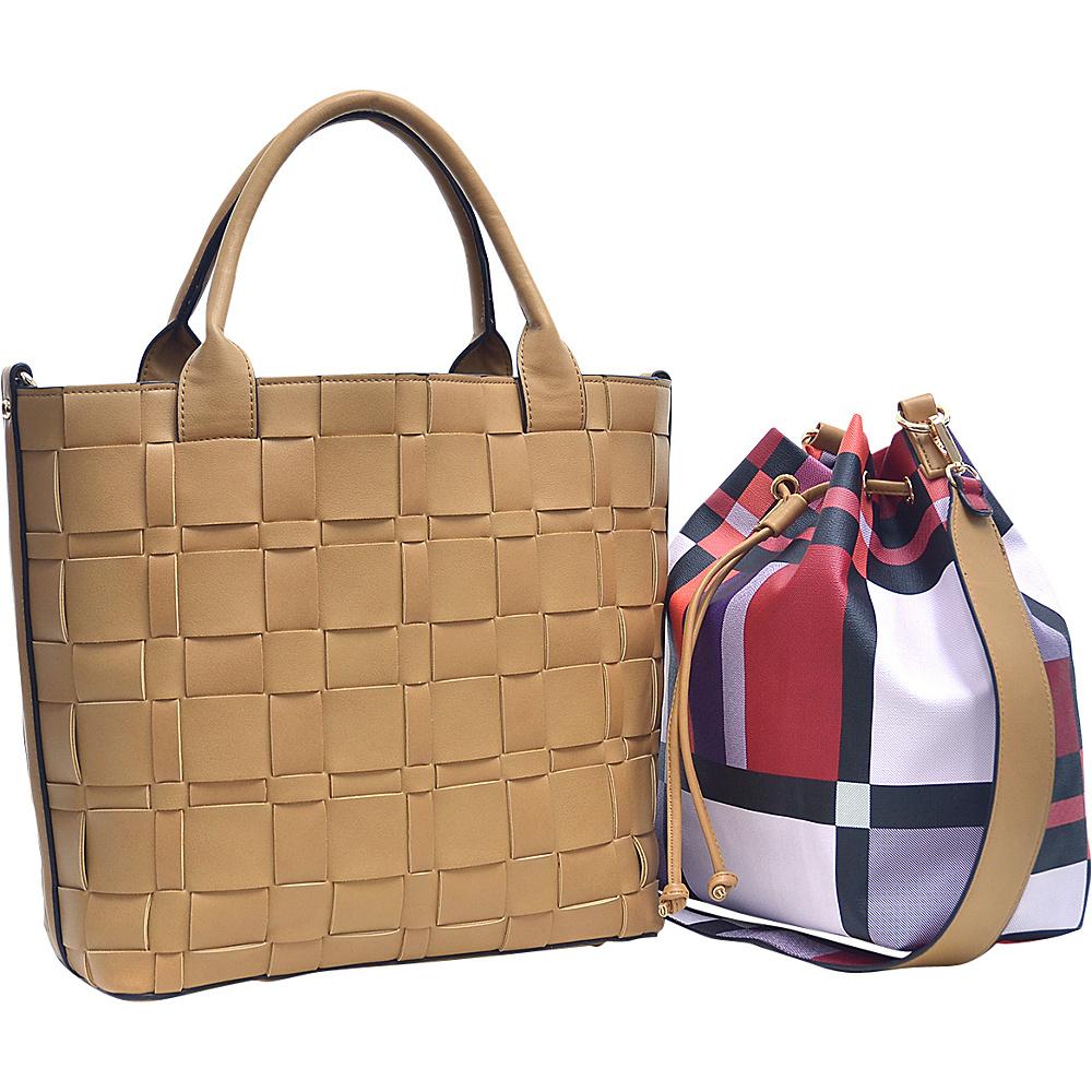 Dasein Checkered/Plaid Designed Tote with Bucket Bag Inside Tan - Dasein Fabric Handbags - Handbags, Fabric Handbags