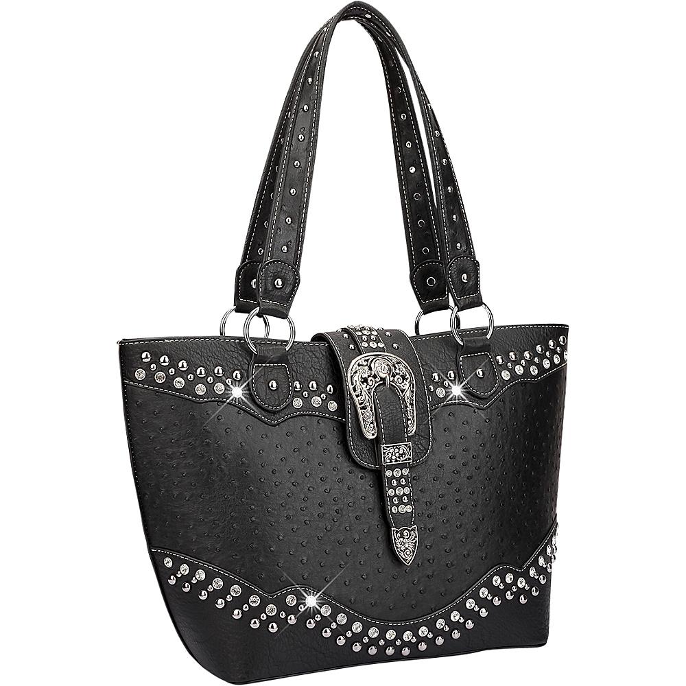 Dasein Western Style Ostrich Rhinestone Buckle Tote Black - Dasein Manmade Handbags - Handbags, Manmade Handbags