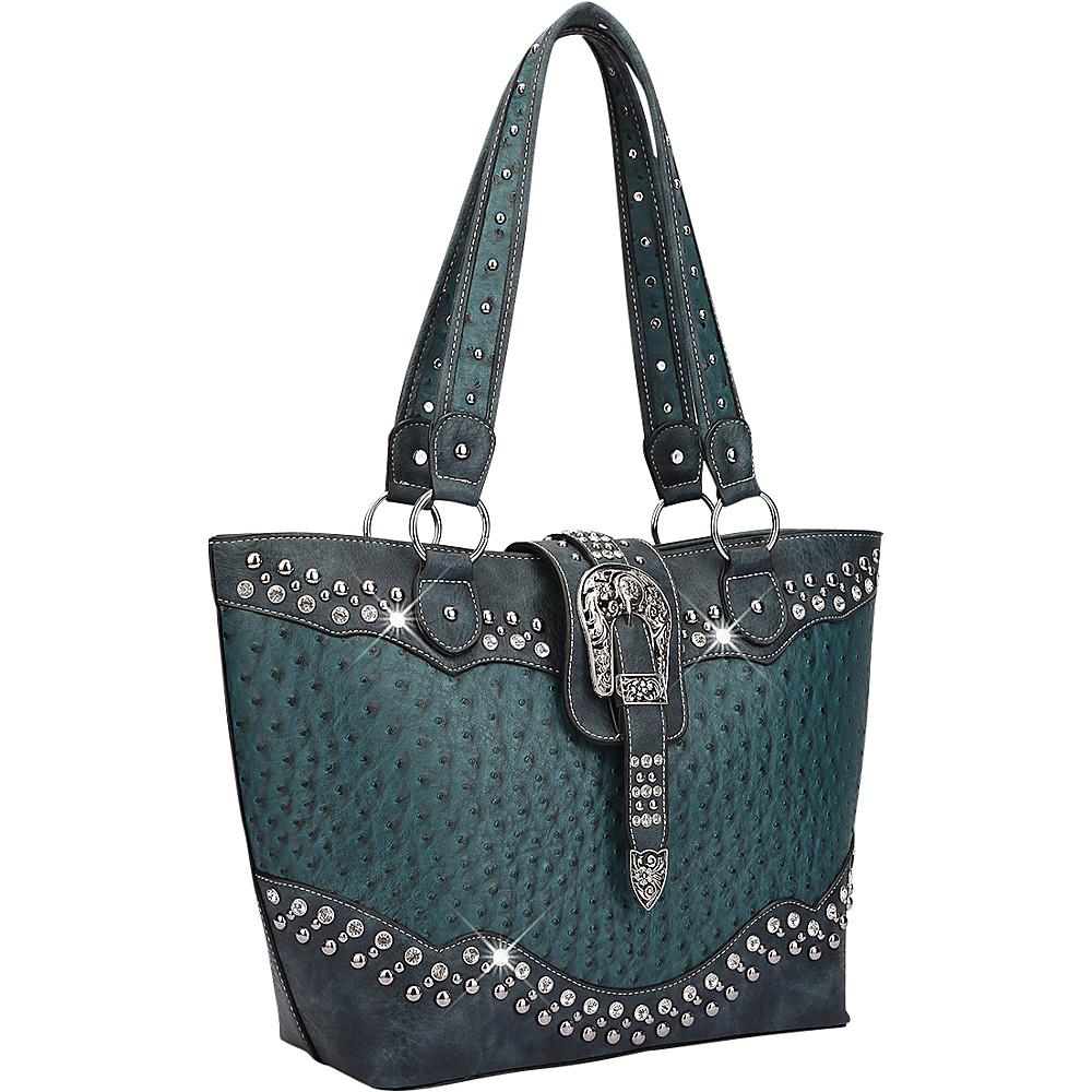Dasein Western Style Ostrich Rhinestone Buckle Tote Ocean - Dasein Manmade Handbags - Handbags, Manmade Handbags