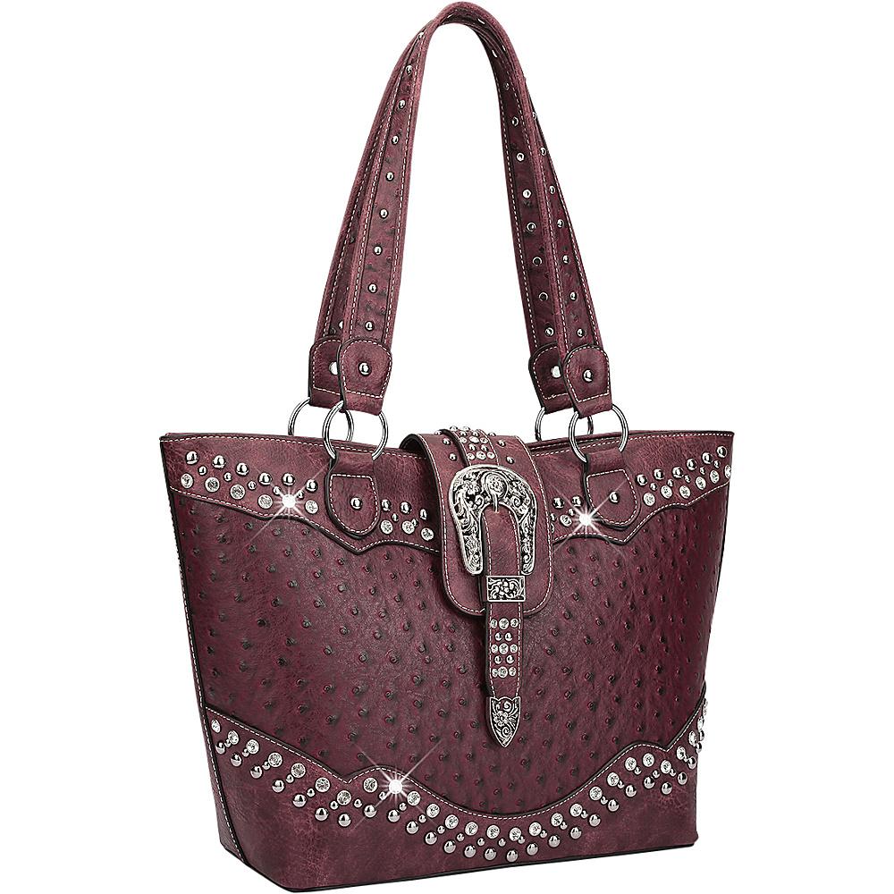 Dasein Western Style Ostrich Rhinestone Buckle Tote Wine - Dasein Manmade Handbags - Handbags, Manmade Handbags
