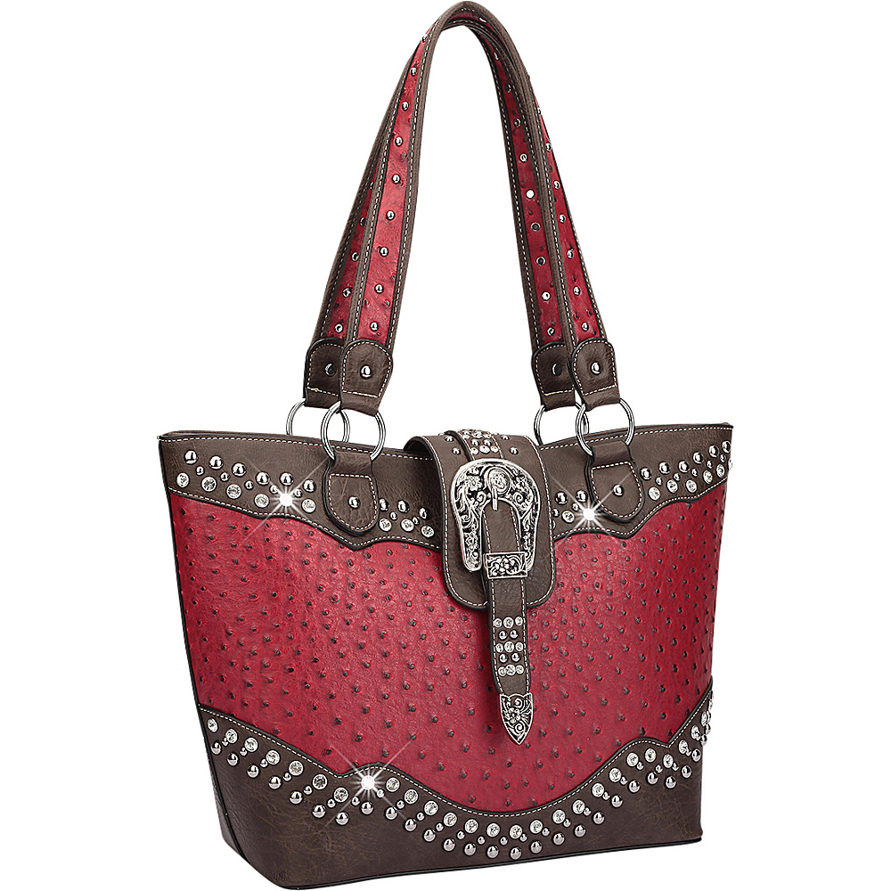 Dasein Western Style Ostrich Rhinestone Buckle Tote Red - Dasein Manmade Handbags - Handbags, Manmade Handbags