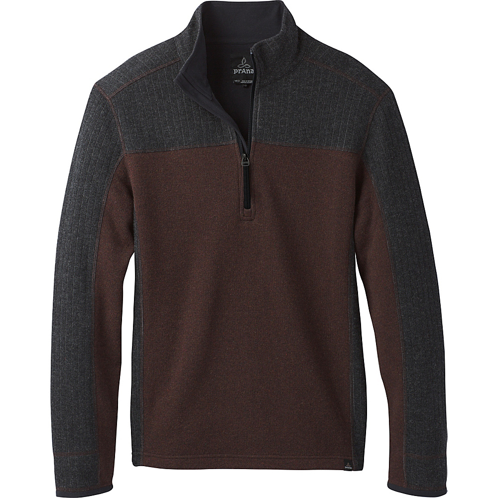 PrAna Wentworth 1/4 Zip Sweater L - Cocoa - PrAna Mens Apparel - Apparel & Footwear, Men's Apparel