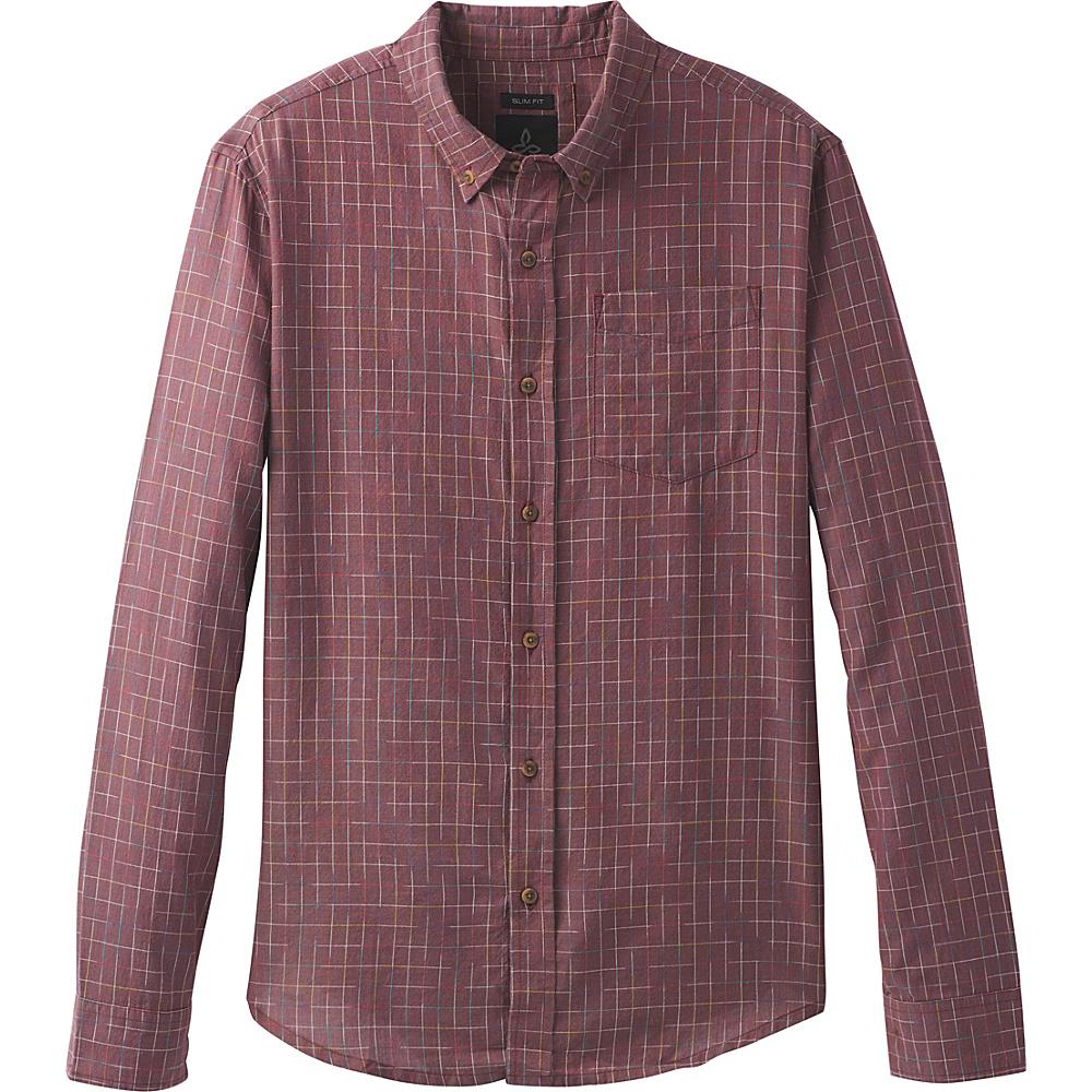 PrAna Broderick Floral Long Sleeve Slim Shirt XL - Nocturnal Red - PrAna Mens Apparel - Apparel & Footwear, Men's Apparel