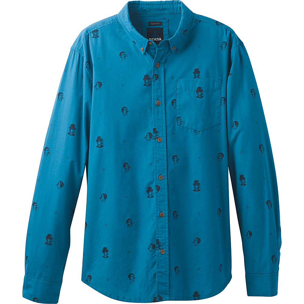 PrAna Broderick Floral Long Sleeve Slim Shirt L - River Rock Blue - PrAna Mens Apparel - Apparel & Footwear, Men's Apparel