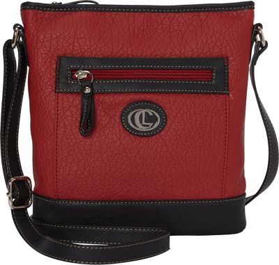 Aurielle-Carryland Square Pocket Crossbody Red/Black - Aurielle-Carryland Manmade Handbags