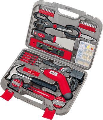 Apollo Tools 135 Piece Household Tool Kit Red - Apollo Tools Sports Accessories