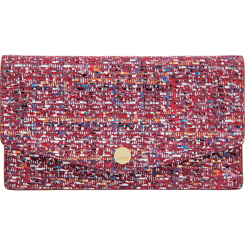 Lodis Tweetable Tweed RFID Mel Flap Card Case with Zip Pocket Brick - Lodis Womens Wallets - Women's SLG, Women's Wallets