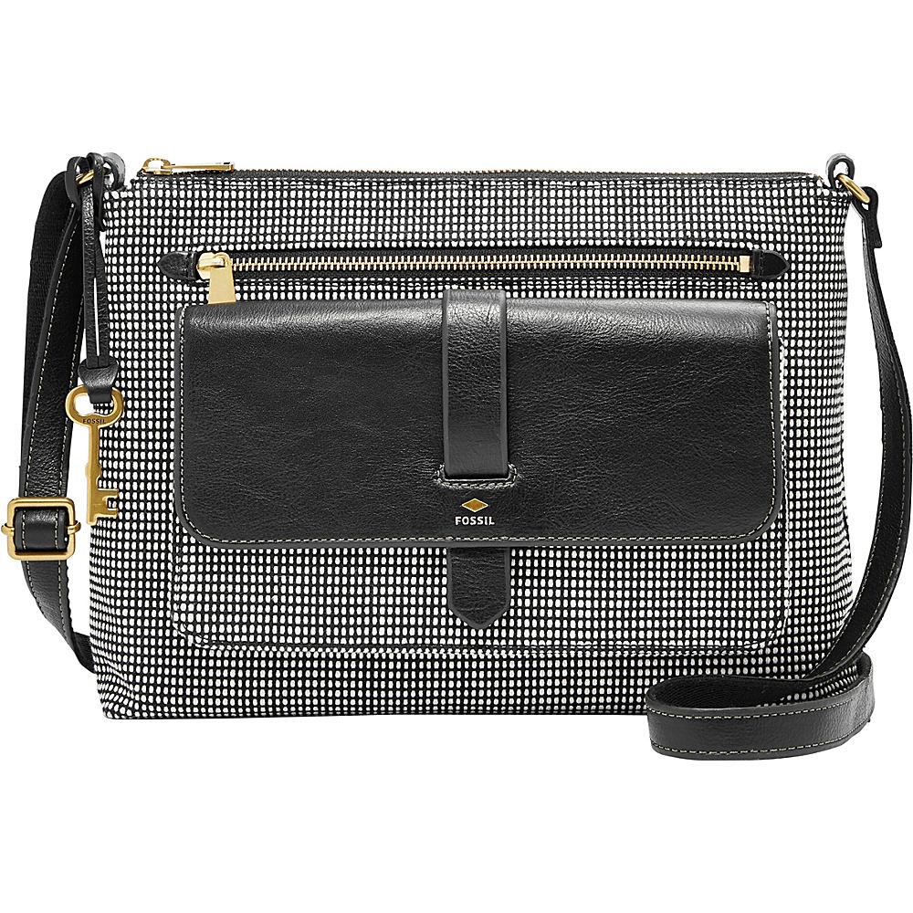 Fossil Kinley Crossbody Black/White - Fossil Fabric Handbags - Handbags, Fabric Handbags