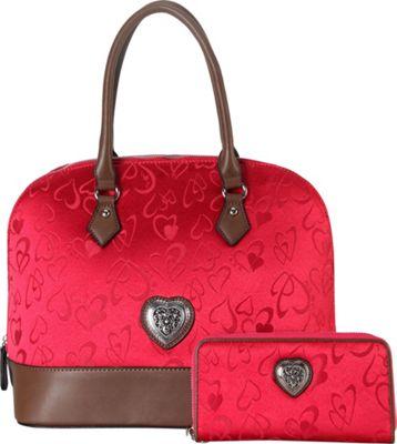 Rimen & Co Heart Print Pattern Shell Shape Tote & Wallet Red - Rimen & Co Manmade Handbags
