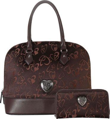 Rimen & Co Heart Print Pattern Shell Shape Tote & Wallet Brown - Rimen & Co Manmade Handbags
