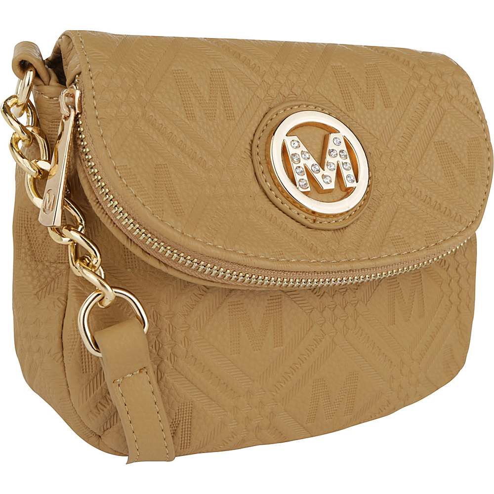 MKF Collection by Mia K. Farrow Madilyn Embossed M Signature Crossbody Beige - MKF Collection by Mia K. Farrow Manmade Handbags - Handbags, Manmade Handbags