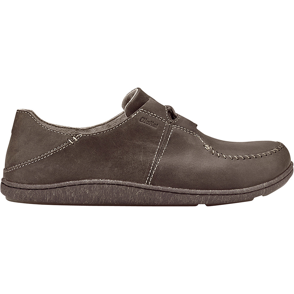 OluKai Mens Honua Leather Slip-On 11.5 - Dark Wood/Dark Wood - OluKai Mens Footwear - Apparel & Footwear, Men's Footwear