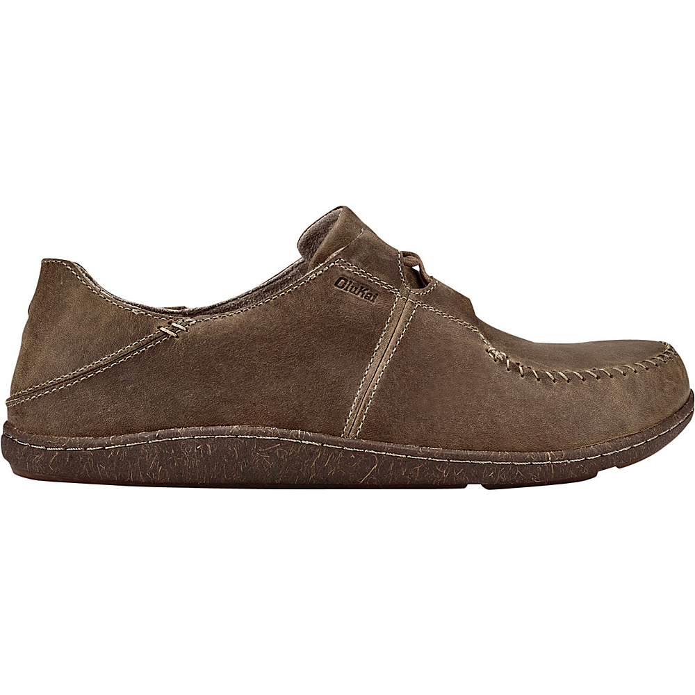 OluKai Mens Honua Leather Slip-On 8.5 - Ecru/Ecru - OluKai Mens Footwear - Apparel & Footwear, Men's Footwear