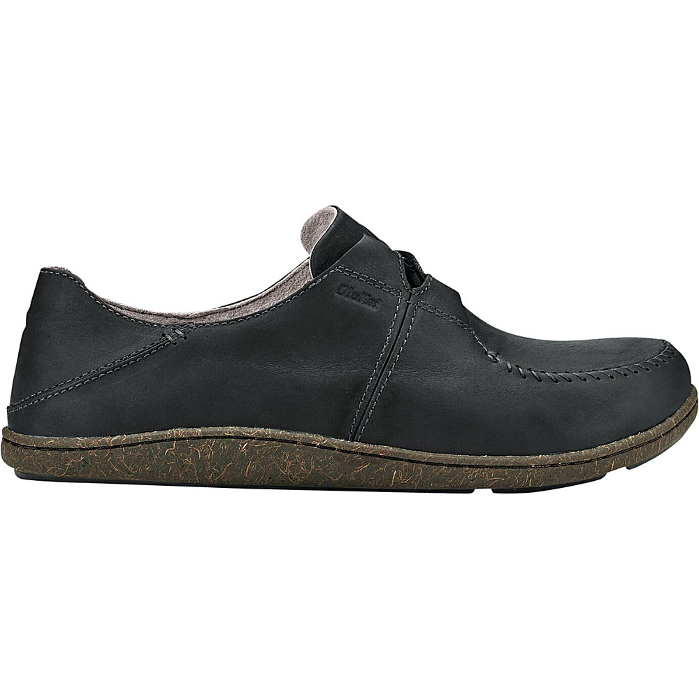 OluKai Mens Honua Leather Slip-On 8 - Black/Black - OluKai Mens Footwear - Apparel & Footwear, Men's Footwear