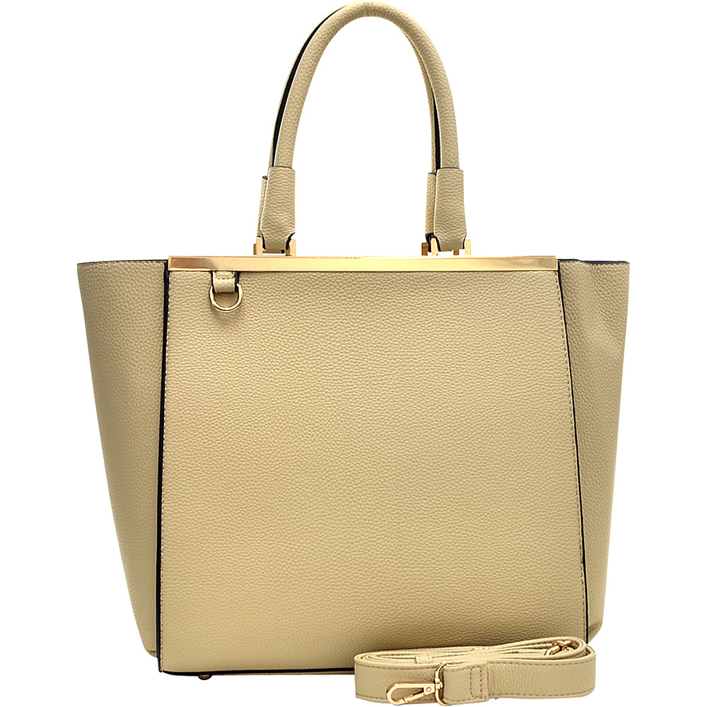 Dasein Gold-Tone Satchel with Shoulder Strap Beige - Dasein Manmade Handbags - Handbags, Manmade Handbags
