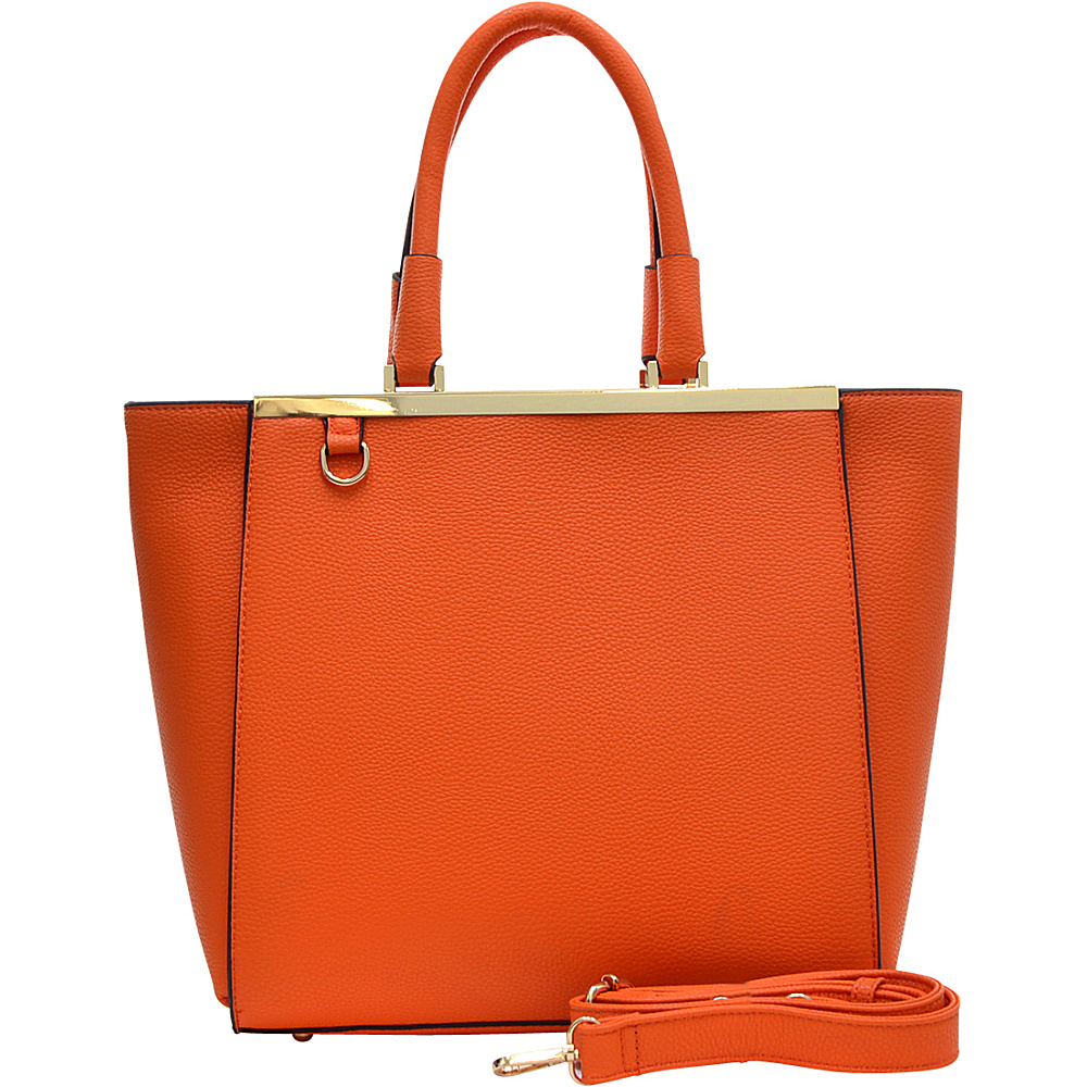 Dasein Gold-Tone Satchel with Shoulder Strap Orange - Dasein Manmade Handbags - Handbags, Manmade Handbags