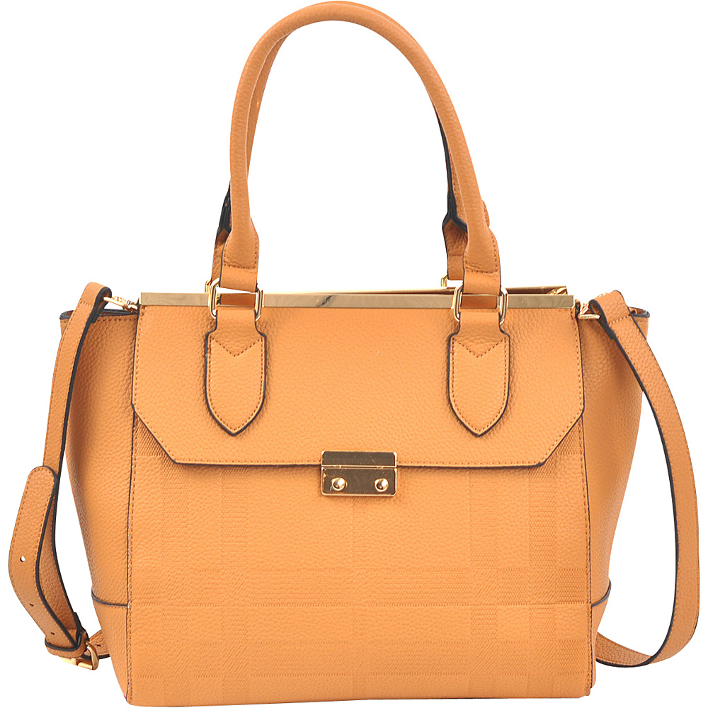 Dasein Fashion Satchel Tan - Dasein Manmade Handbags - Handbags, Manmade Handbags