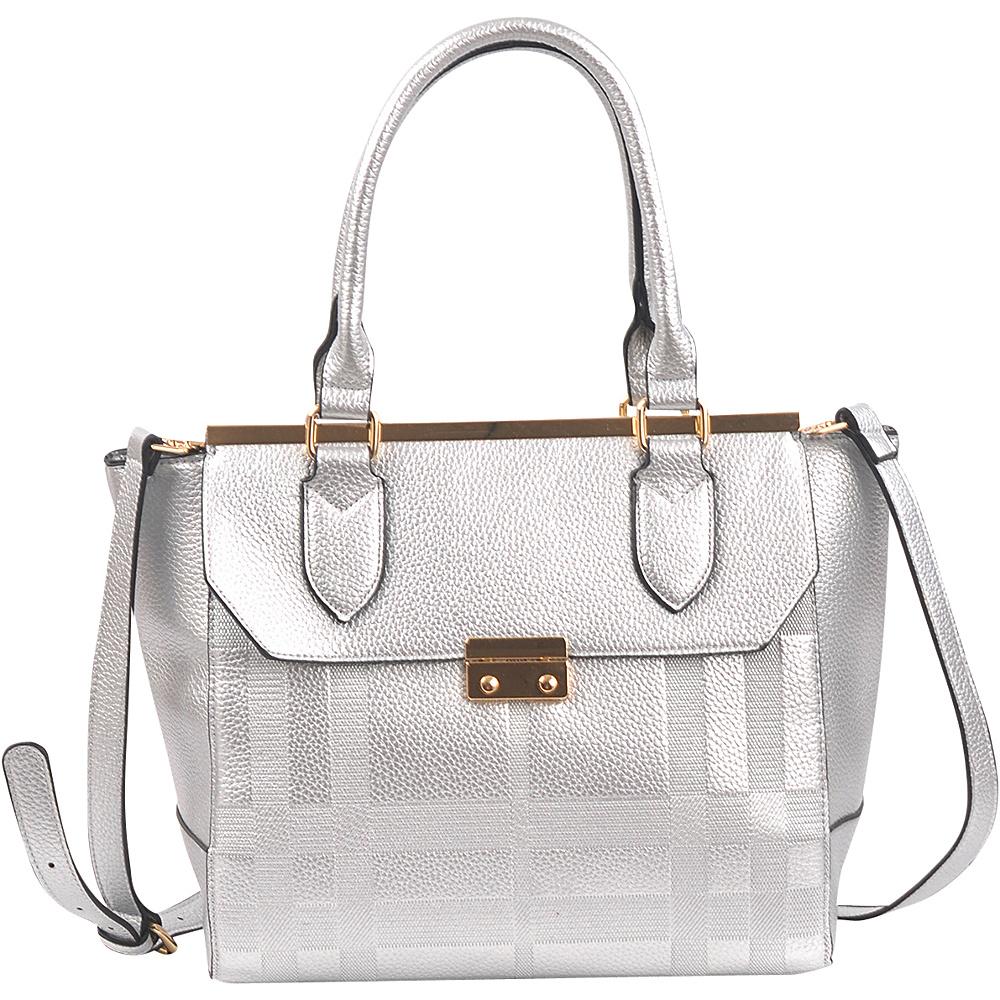 Dasein Fashion Satchel Silver - Dasein Manmade Handbags - Handbags, Manmade Handbags
