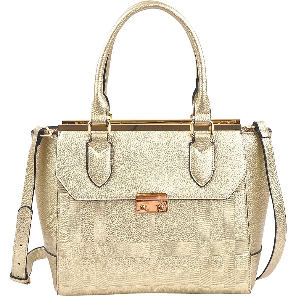 Dasein Fashion Satchel Gold - Dasein Manmade Handbags - Handbags, Manmade Handbags