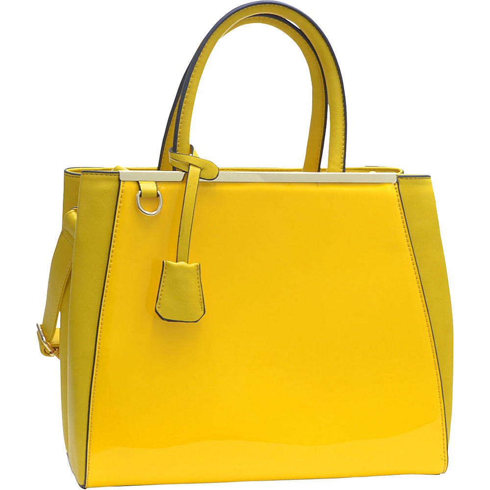 Dasein Structured Gold-Tone Satchel with Shoulder Strap Yellow - Dasein Manmade Handbags - Handbags, Manmade Handbags