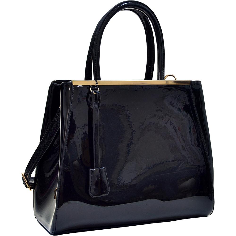 Dasein Structured Gold-Tone Satchel with Shoulder Strap Black - Dasein Manmade Handbags - Handbags, Manmade Handbags