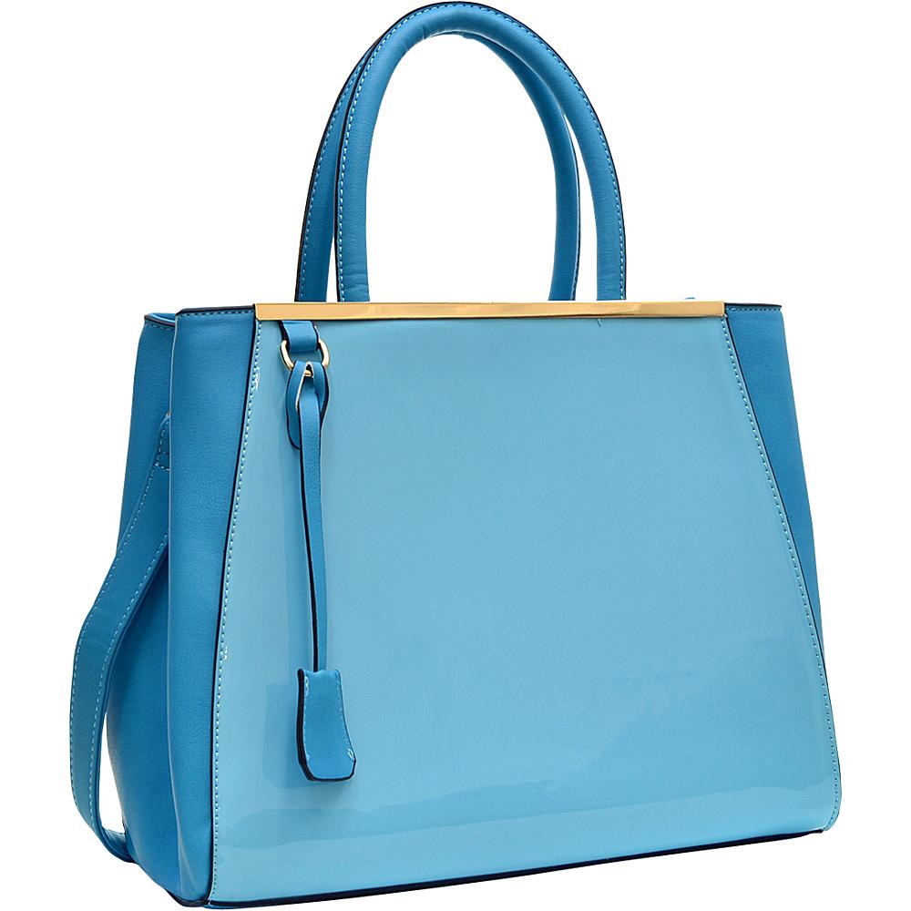 Dasein Structured Gold-Tone Satchel with Shoulder Strap Turquoise - Dasein Manmade Handbags - Handbags, Manmade Handbags