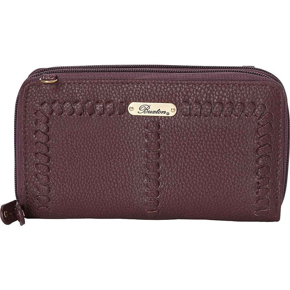 Buxton Whip Stitch RFID Double Zip Organizer Fired Brick - Buxton Manmade Handbags - Handbags, Manmade Handbags