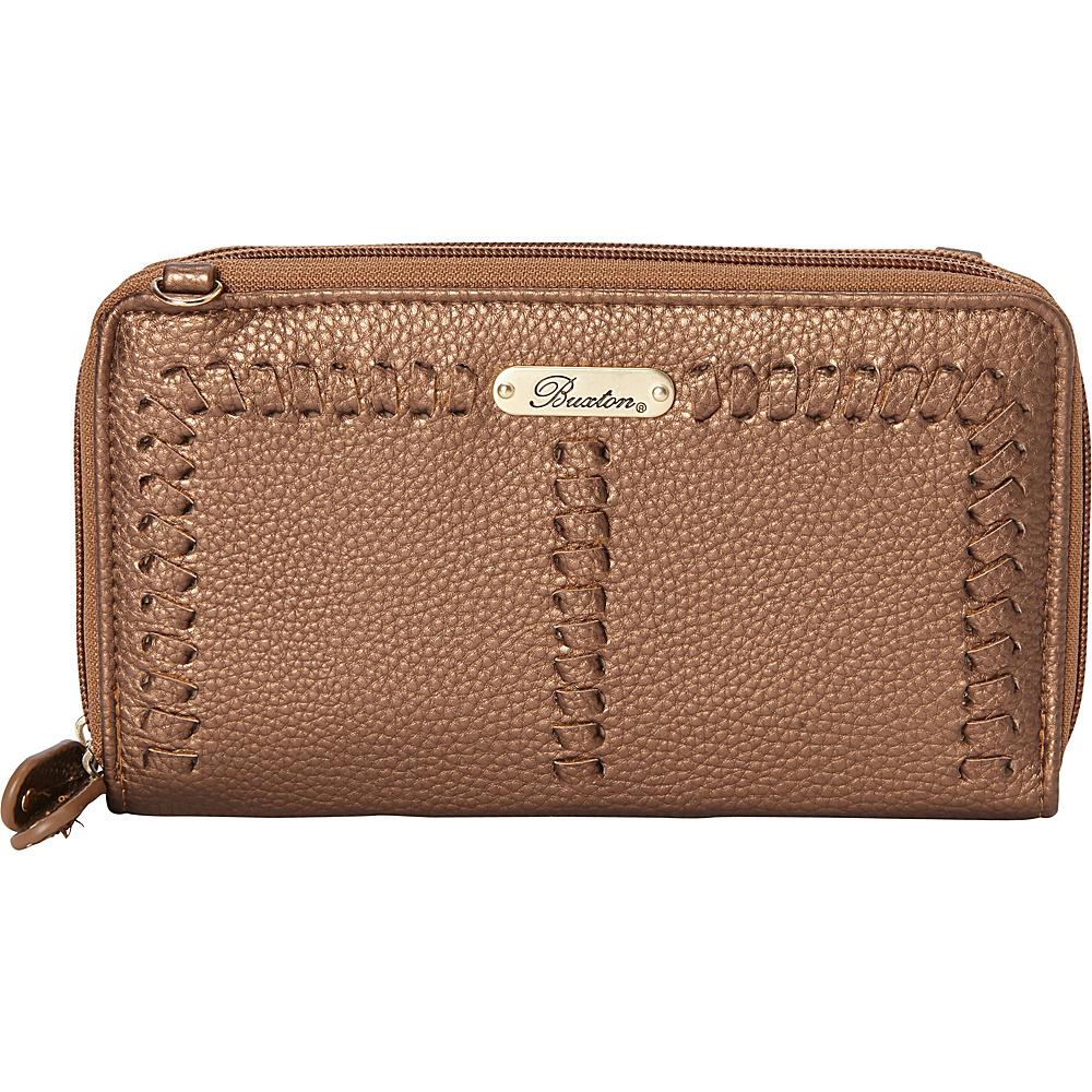 Buxton Whip Stitch RFID Double Zip Organizer Metallic Gold - Buxton Manmade Handbags - Handbags, Manmade Handbags