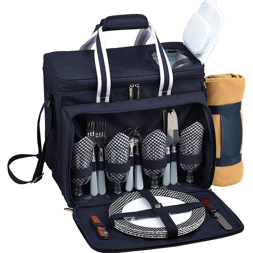 Picnic at Ascot Deluxe Picnic Cooler with Blanket Equipped for 4 Navy/White w/Gingham - Picnic at Ascot Outdoor Accessories - Outdoor, Outdoor Accessories
