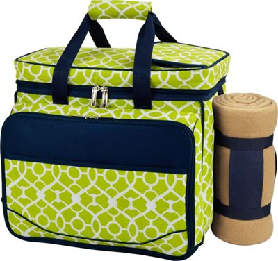 Picnic at Ascot Deluxe Picnic Cooler with Blanket Equipped for 4 Black w/London Plaid - Picnic at Ascot Outdoor Accessories